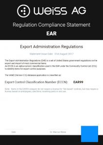 Weiss AG EAR Certificate thumbnail