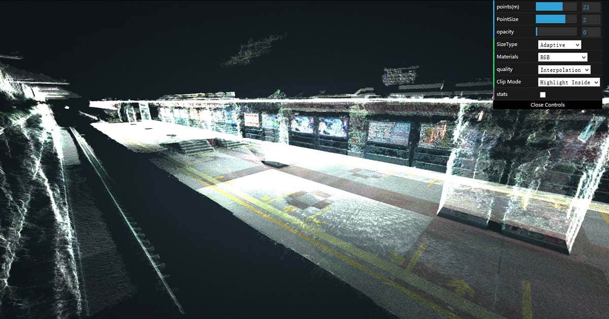 3d scan of a tunnel point cloud