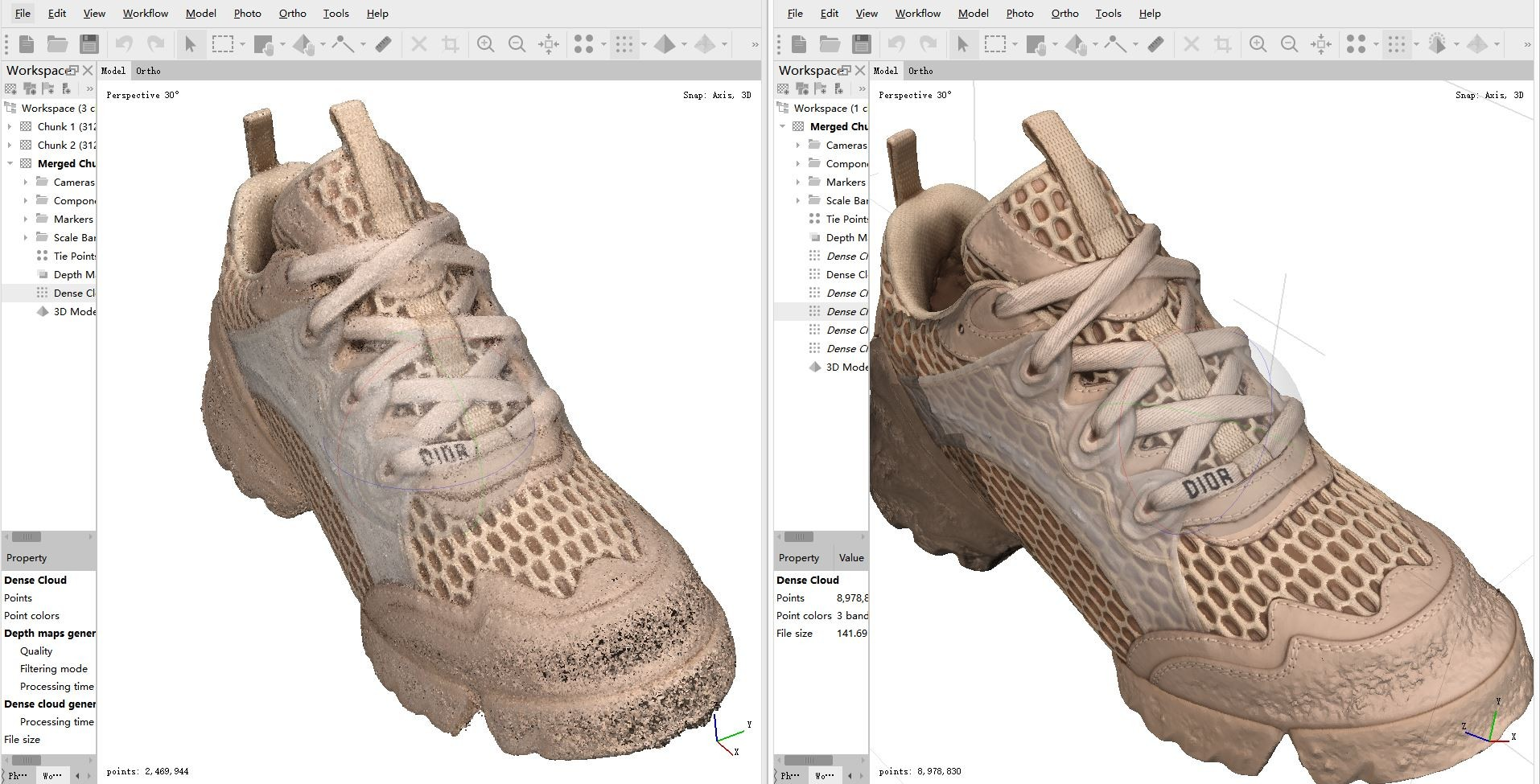 3d scanned point cloud of shoes